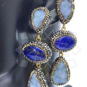 Jewelry - Swarovski Crystal & Lapis/Chalcedony Gem Earrings